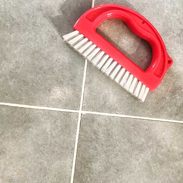 Clean Tile Grout and Brush