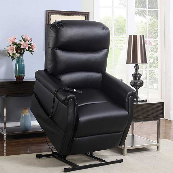Madison Home Classic Plush Bonded Leather Power Lift Recliner