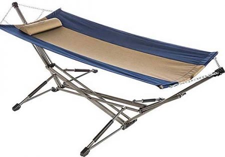 Portable hammock stand with hammock