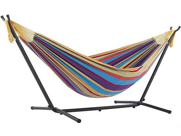 Vivere Double Hammock & Space-Saving Steel Stand (Highest Rated)