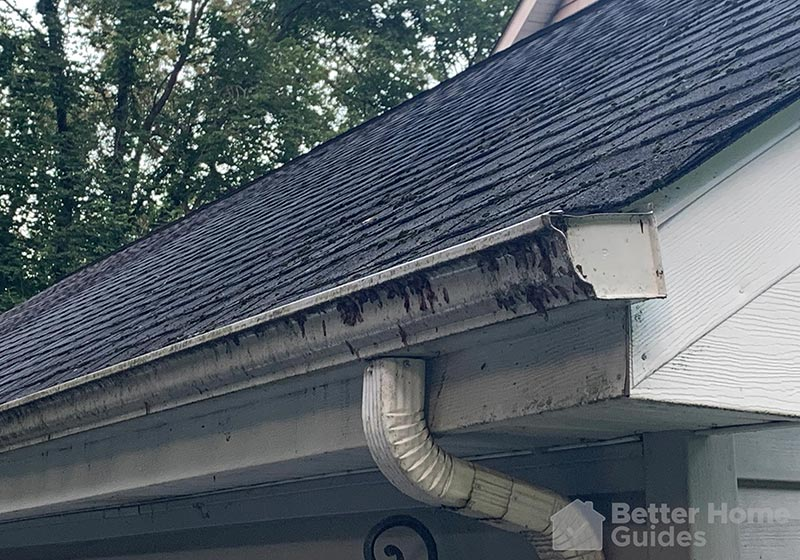 Gutters on a home close up view